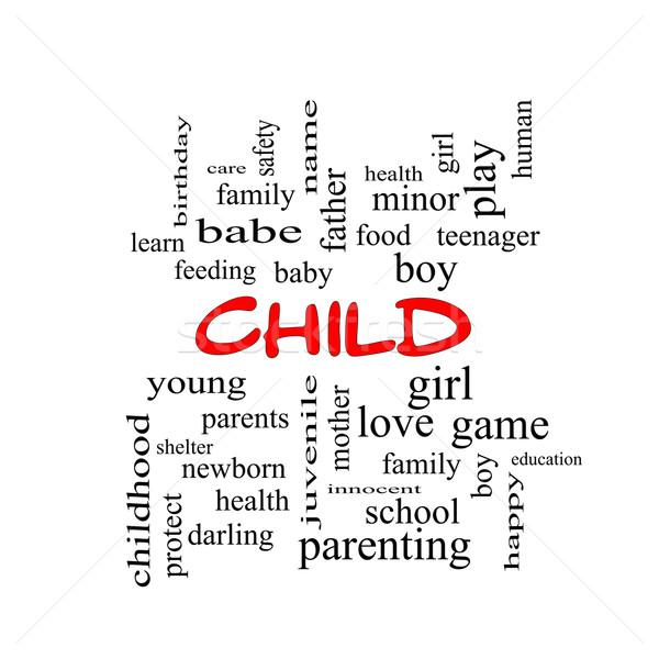 Foto stock: Criança · nuvem · da · palavra · vermelho · menino · menina