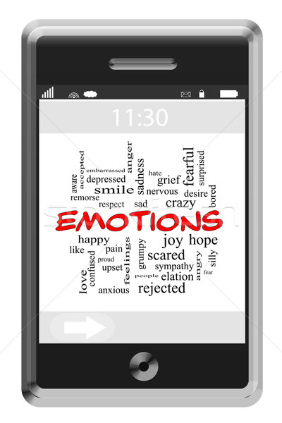 Emotions Word Cloud Concept on a Touchscreen Phone Stock photo © mybaitshop