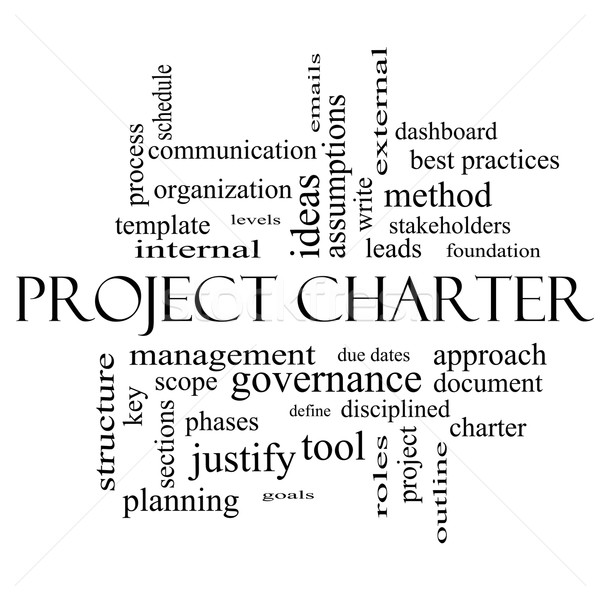 Project Charter Word Cloud Concept in black and white Stock photo © mybaitshop