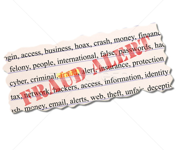 Fraud highlighted on paper full of related terms with a stamp over the top Stock photo © mybaitshop