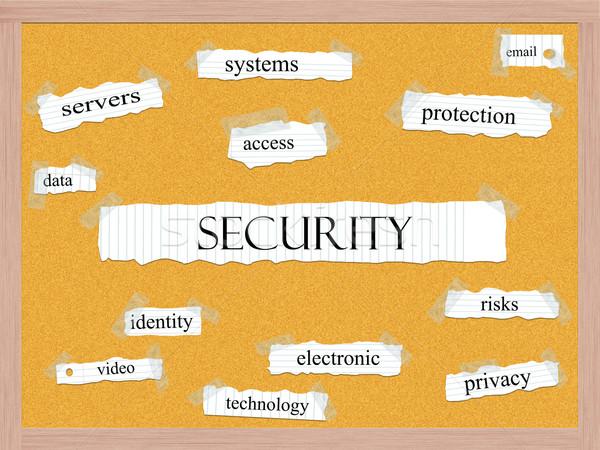 Security Corkboard Word Concept Stock photo © mybaitshop