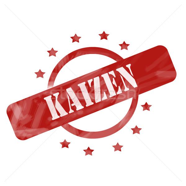 Red Weathered Kaizen Stamp Circle and Stars design Stock photo © mybaitshop
