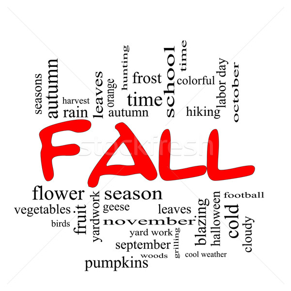 Fall or Autumn Word Cloud Concept in Red Caps Stock photo © mybaitshop