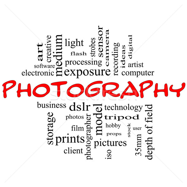 Fotografii chmura słowo czarny czerwony dslr Zdjęcia stock © mybaitshop