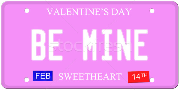 Be Mine Valentine's Day License Plate Stock photo © mybaitshop