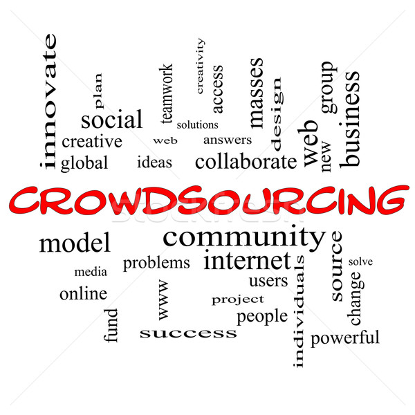Crowdsourcing Word Cloud Concept in red caps Stock photo © mybaitshop