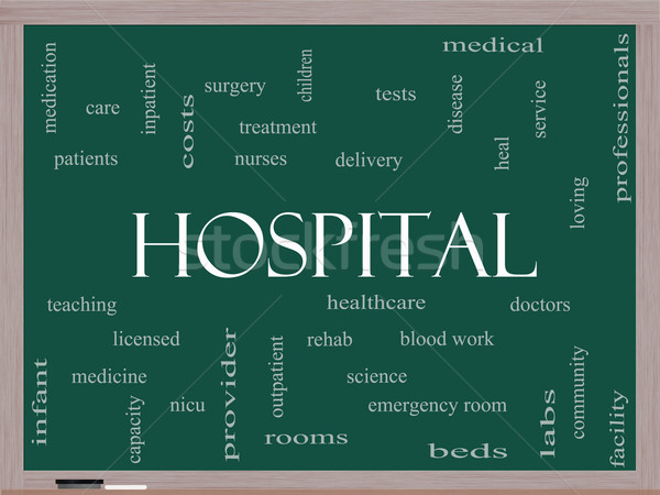 Hospital Word Cloud Concept on a Blackboard Stock photo © mybaitshop