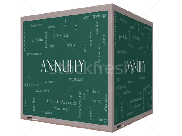 Annuity Word Cloud Concept on a 3D cube Blackboard Stock photo © mybaitshop
