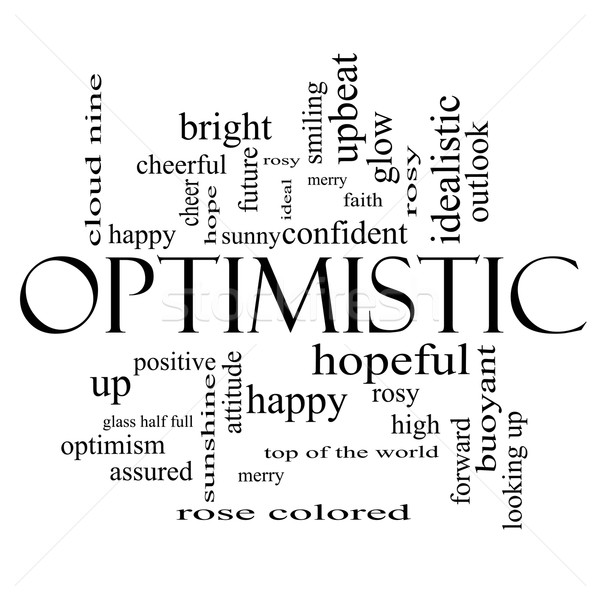 Optimistic Word Cloud Concept in black and white Stock photo © mybaitshop