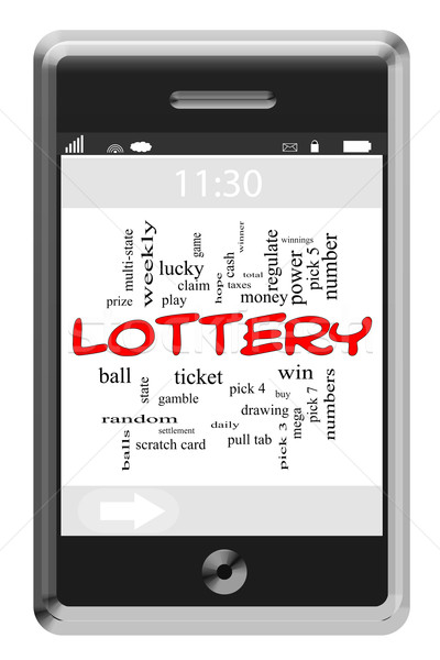 Lottery Word Cloud Concept on Touchscreen Phone Stock photo © mybaitshop