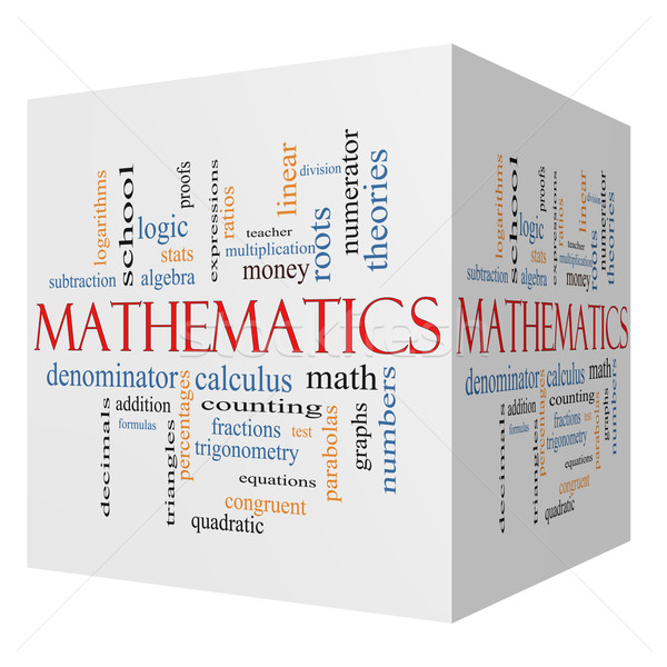Mathematics 3D cube Word Cloud Concept Stock photo © mybaitshop