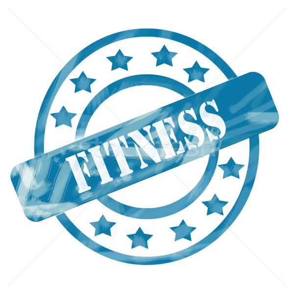 Blue Weathered Fitness Stamp Circles and Stars Stock photo © mybaitshop
