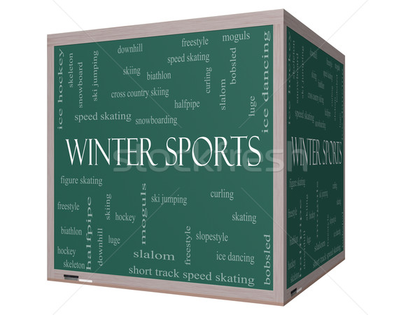 Stock photo: Winter Sports Word Cloud Concept on a 3D cube Blackboard