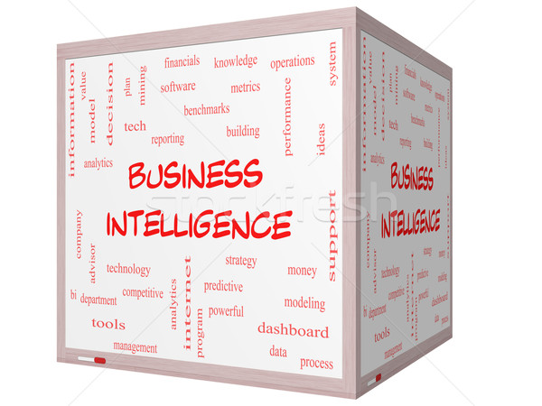 ビジネス インテリジェンス 言葉の雲 3D キューブ ホワイトボード ストックフォト © mybaitshop