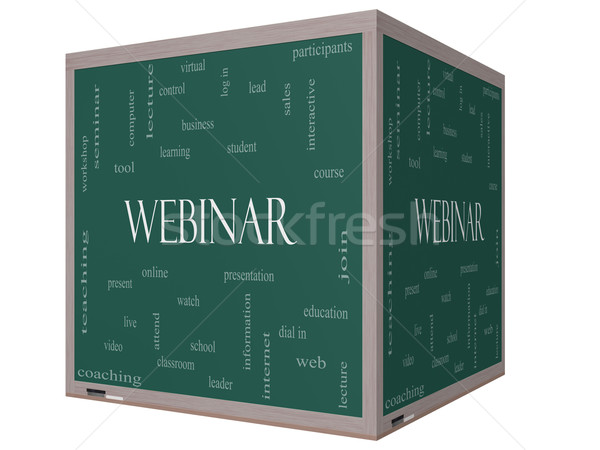 Webinar Word Cloud Concept on a 3D cube Blackboard Stock photo © mybaitshop