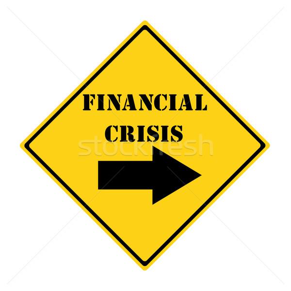 Finansal kriz yol imzalamak sarı siyah elmas Stok fotoğraf © mybaitshop