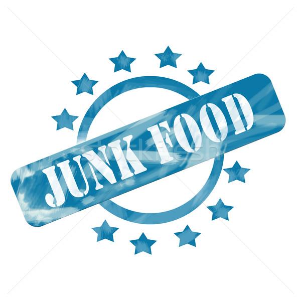 Blue Weathered Junk Food Stamp Circle and Stars design Stock photo © mybaitshop