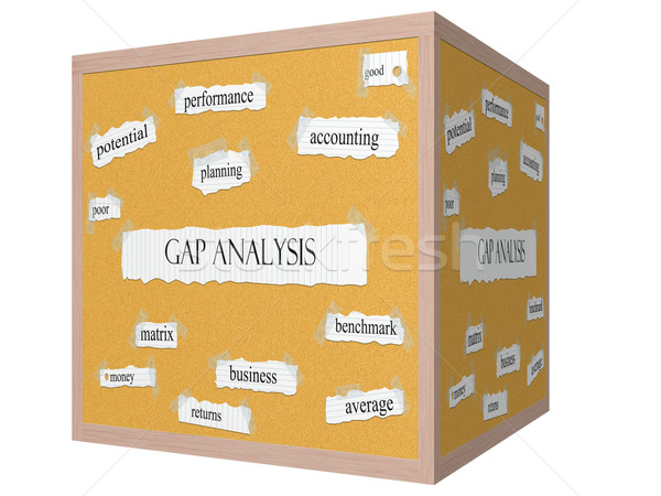 Gap Analysis 3D cube Corkboard Word Concept Stock photo © mybaitshop