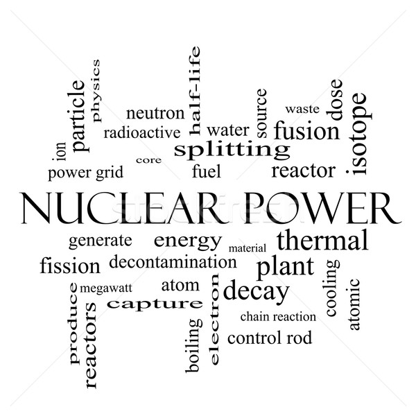 Nuclear Power Word Cloud Concept in black and white Stock photo © mybaitshop