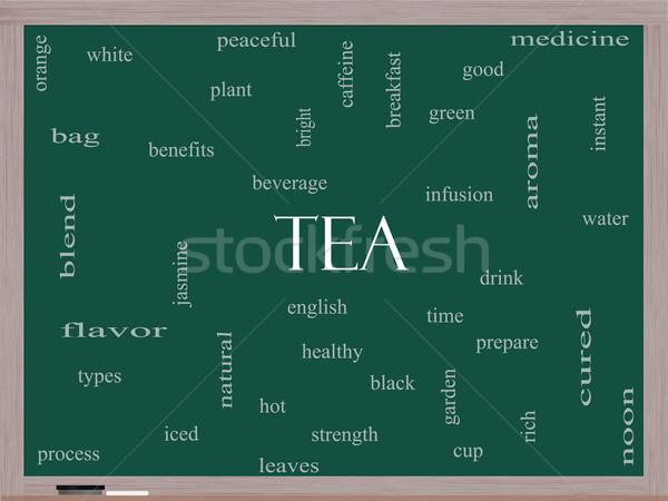 Tea Word Cloud Concept on a Blackboard Stock photo © mybaitshop