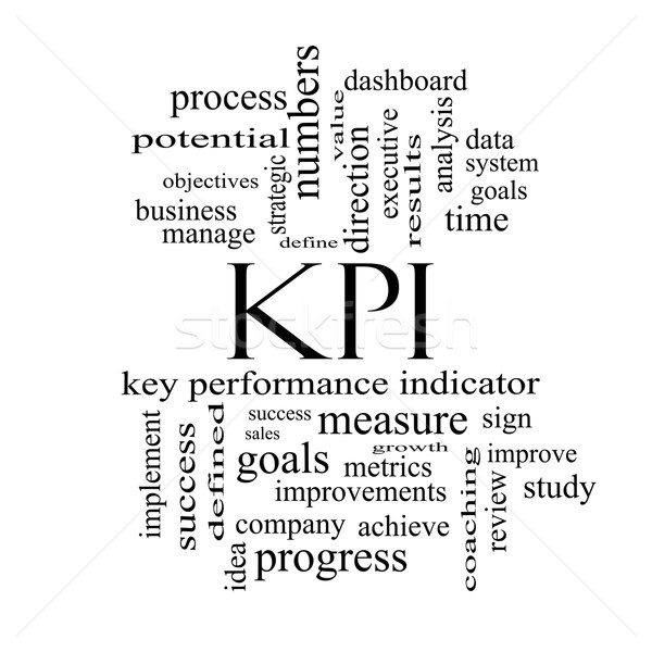 KPI Word Cloud Concept in black and white Stock photo © mybaitshop
