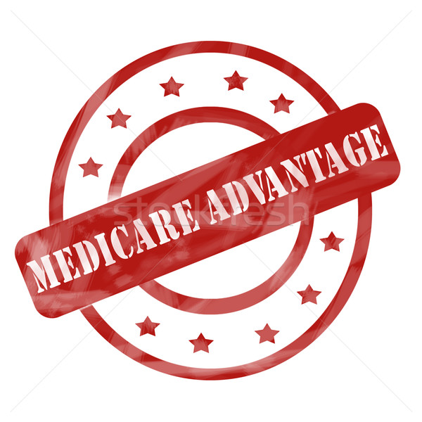 Red Weathered Medicare Advantage Stamp Circles and Stars Stock photo © mybaitshop