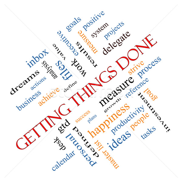 Getting Things Done Word Cloud Concept angled Stock photo © mybaitshop