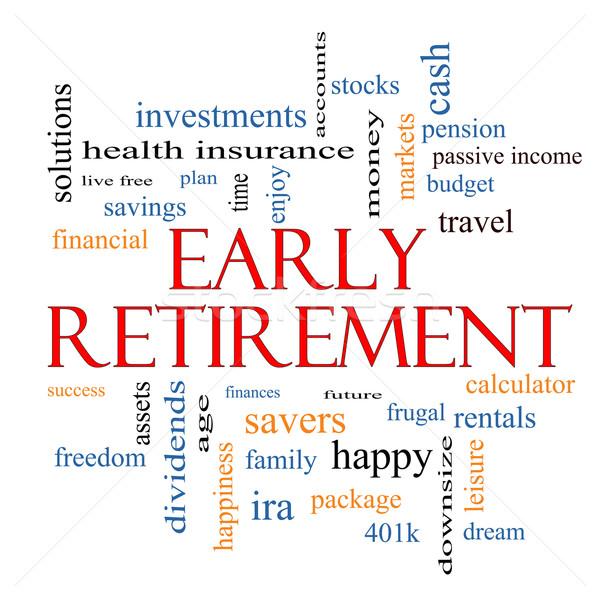 Erken emeklilik kelime bulutu muhteşem yatırımlar bütçe Stok fotoğraf © mybaitshop