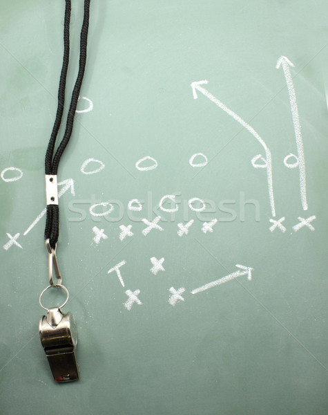 Football Sweep Chalkboard and Coaches Whistle Stock photo © mybaitshop