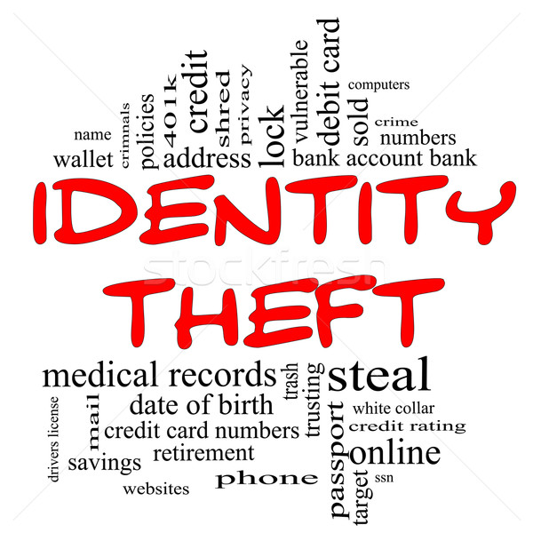 Identity Theft Word Cloud Concept in red & black Stock photo © mybaitshop