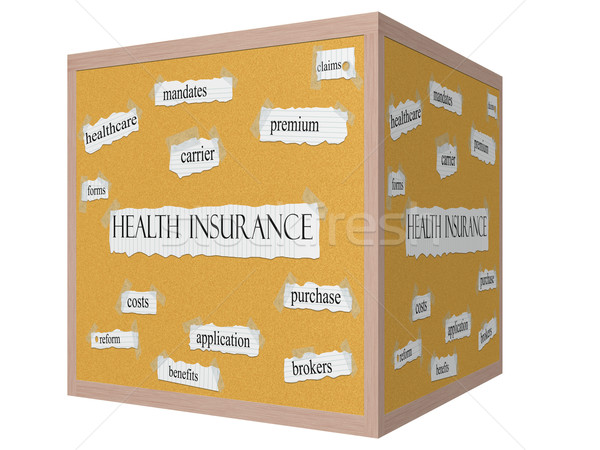 Health Insurance on a 3D Cube Corkboard Word Concept Stock photo © mybaitshop