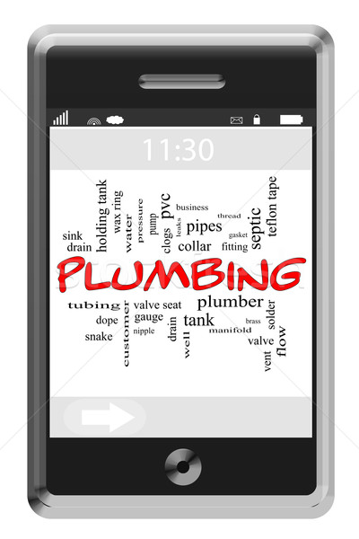 Plumbing Word Cloud Concept on Touchscreen Phone Stock photo © mybaitshop