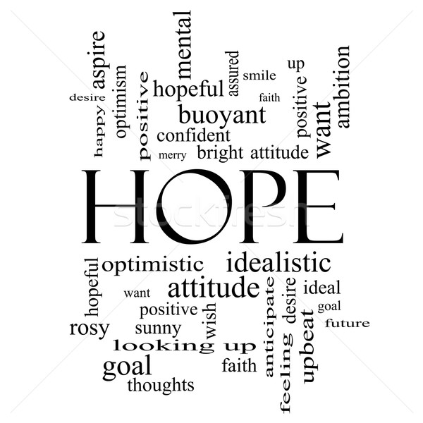 Hope Word Cloud Concept in black and white Stock photo © mybaitshop