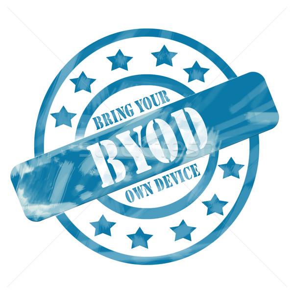 Blue Weathered BYOD Stamp Circles and Stars Stock photo © mybaitshop