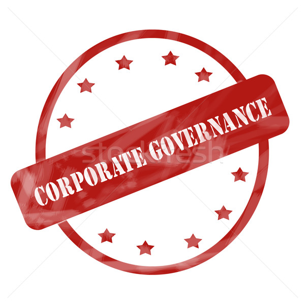 Red Weathered Corporate Governance Stamp Circle and Stars Stock photo © mybaitshop