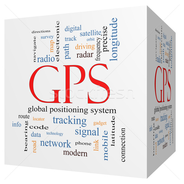 GPS 3D cube Word Cloud Concept Stock photo © mybaitshop