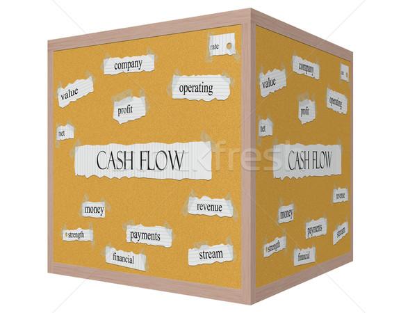 Cashflow 3D kubus woord groot net Stockfoto © mybaitshop