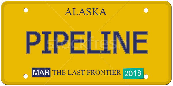 Pipeline Alaska plaque d'immatriculation imitation mot dernier Photo stock © mybaitshop