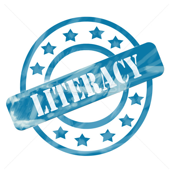 Blue Weathered Literacy Stamp Circles and Stars Stock photo © mybaitshop