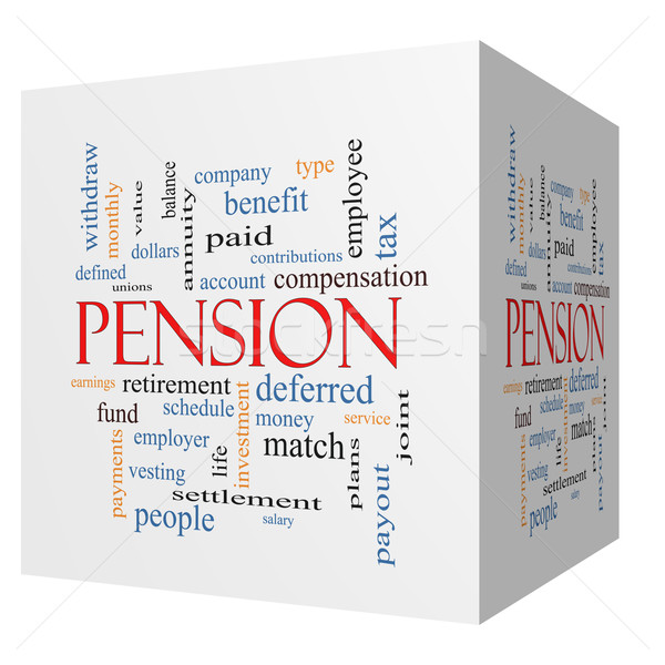 Pension 3D cube Word Cloud Concept Stock photo © mybaitshop