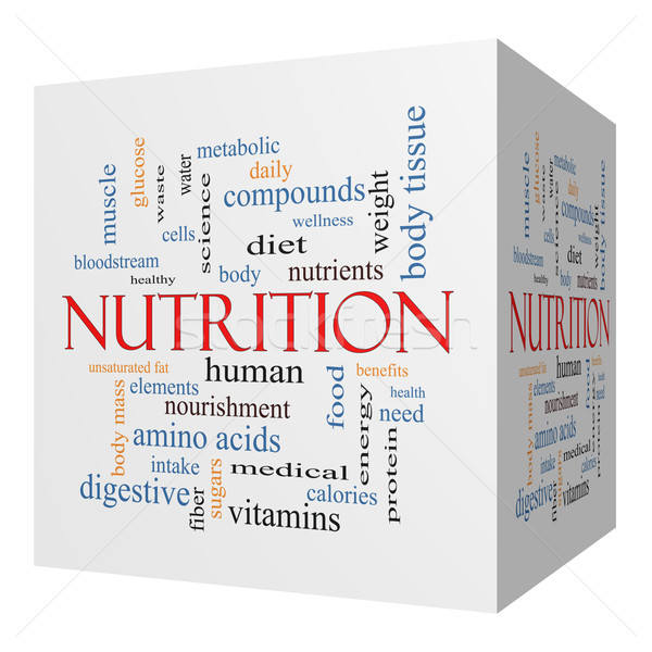 Nutrition 3D cube Word Cloud Concept Stock photo © mybaitshop