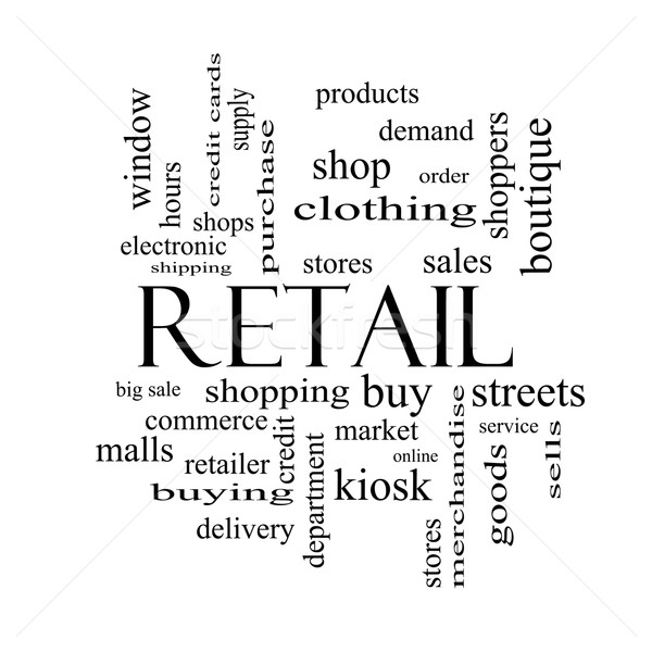 Retail Word Cloud Concept in black and white Stock photo © mybaitshop