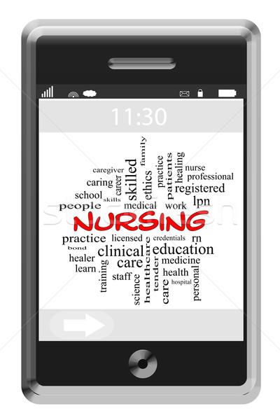 Nursing Word Cloud Concept on a Touchscreen Phone Stock photo © mybaitshop