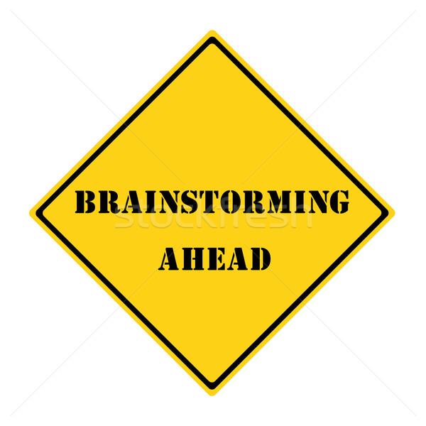 мозговая атака впереди знак желтый черный Diamond Сток-фото © mybaitshop