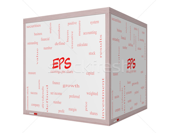EPS Word Cloud Concept on a 3D cube Whiteboard Stock photo © mybaitshop