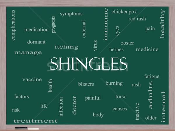 Shingles Word Cloud Concept on a Blackboard Stock photo © mybaitshop