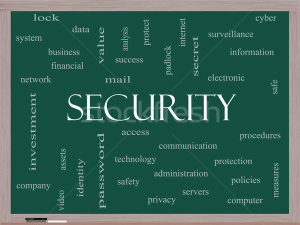Security Word Cloud Concept on a Blackboard Stock photo © mybaitshop