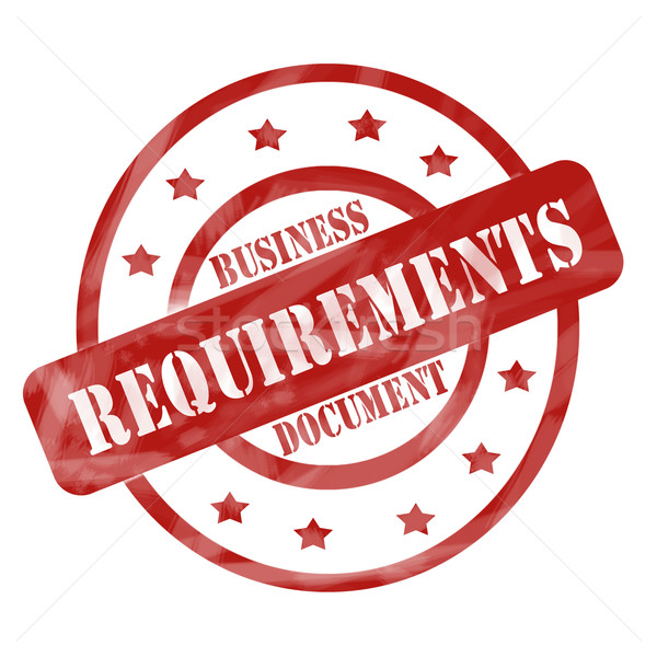 Red Weathered Business Requirements Document Stamp Circles and Stars Stock photo © mybaitshop