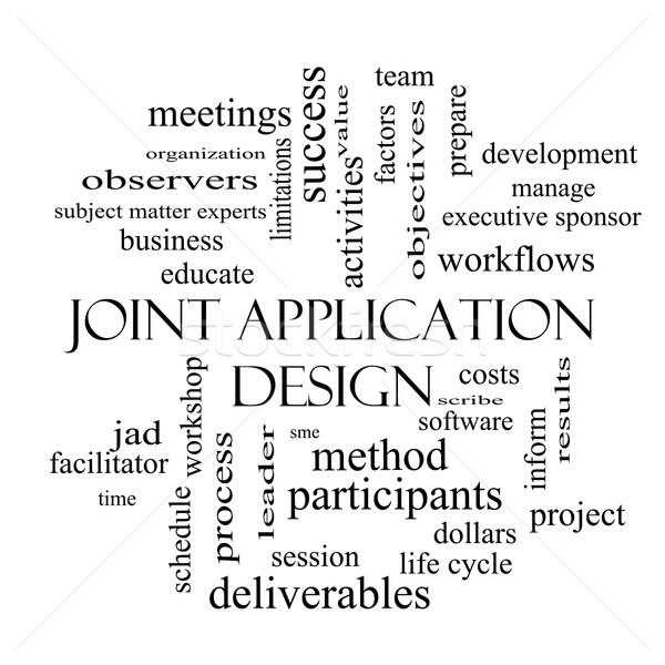 Articulação aplicação nuvem da palavra preto e branco reuniões Foto stock © mybaitshop