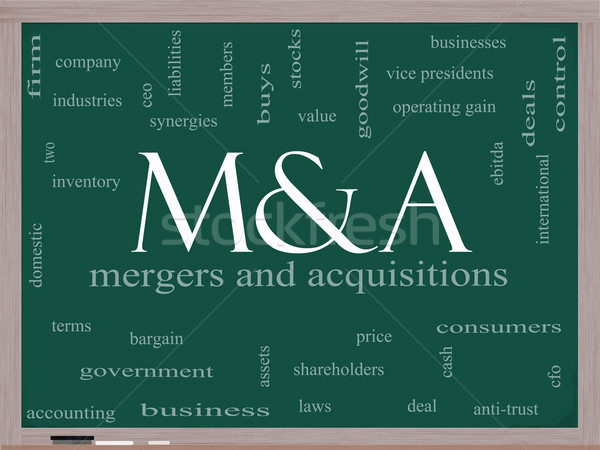 M & A (Mergers and Acquisitions) Word Cloud Concept on a Blackboard Stock photo © mybaitshop